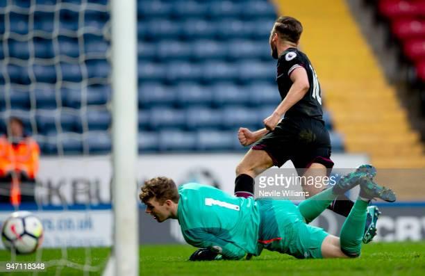 Jordan Lyden of Aston Villa scores during the Premier League 2 match between Blackburn Rovers and Aston Villa at Ewood Park on April 16 2018 in...