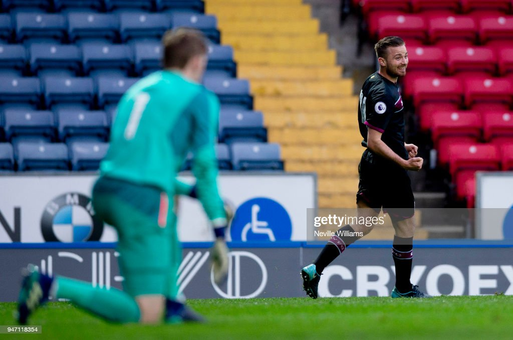 Jordan Lyden of Aston Villa scores during the Premier League 2 match between Blackburn Rovers and Aston Villa at Ewood Park on April 16, 2018 in Blackburn, England.