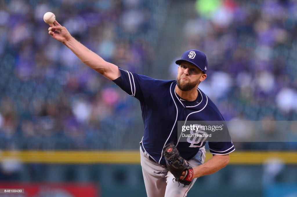 Jordan Lyles #27 of the San Diego Padres pitches against the Colorado Rockies in the first inning of a game at Coors Field on September 16, 2017 in Denver, Colorado.
