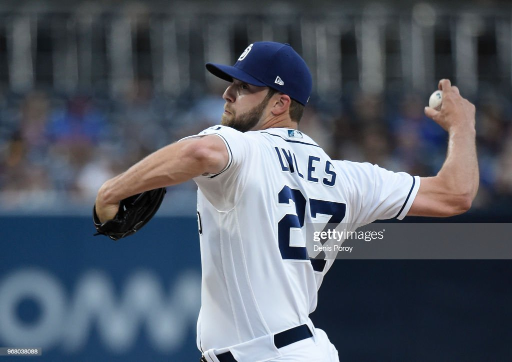 Jordan Lyles #27 of the San Diego Padres pitches during the first inning of a baseball game against the Atlanta Braves at PETCO Park on June 5, 2018 in San Diego, California.