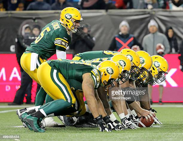 Jordan Lynch of the Edmonton Eskimos' sets up to score the winning touchdown during Grey Cup 103 against the Ottawa Redblacks at Investors Group...