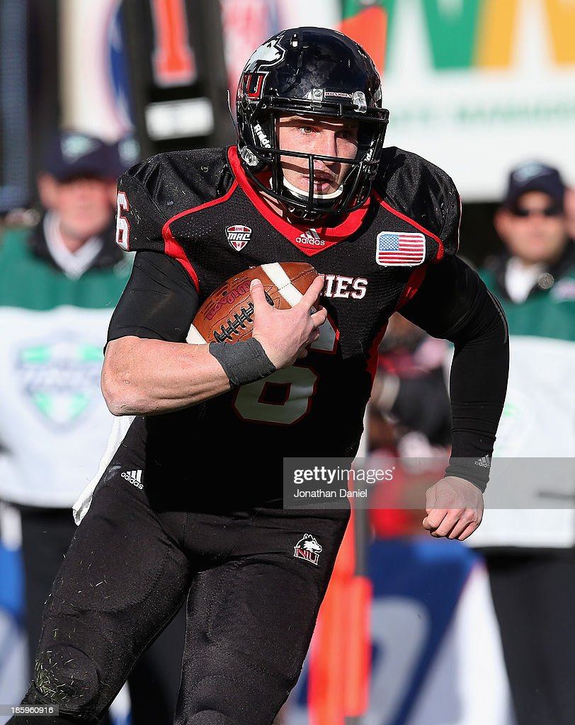 Jordan Lynch #6 of the Northern Illinois Huskies runs for a touchdown against the Eastern Michigan Eagles at Brigham Field on October 26, 2013 in DeKalb, Illinois.