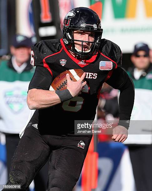 Jordan Lynch of the Northern Illinois Huskies runs for a touchdown against the Eastern Michigan Eagles at Brigham Field on October 26 2013 in DeKalb...