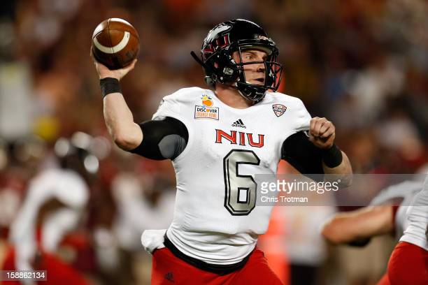 Jordan Lynch of the Northern Illinois Huskies throws a pass in the first half against the Florida State Seminoles during the Discover Orange Bowl at...