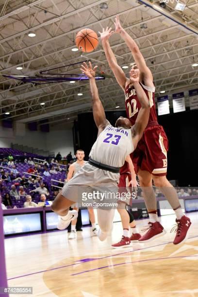 Jordan Lyons guard Furman University Paladins scors against Steven Santa Ana guard Elon University Phoenix at Timmons Arena Tuesday November 14 in...