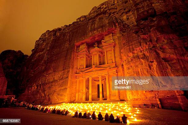 Jordan, Maan Governorate, Petra, Al Khazneh at night