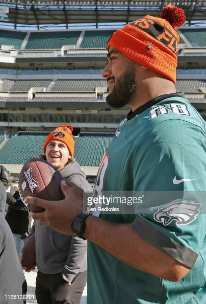 Jordan Mailata of the Philadelphia Eagles and Travis Konecny of the Philadelphia Flyers look at the preparations for the 2019 Coors Light NHL Stadium...