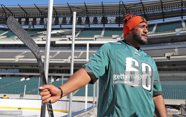 Jordan Mailata of the Philadelphia Eagles looks at the preparations for the 2019 Coors Light NHL Stadium Series between the Philadelphia Flyers and...