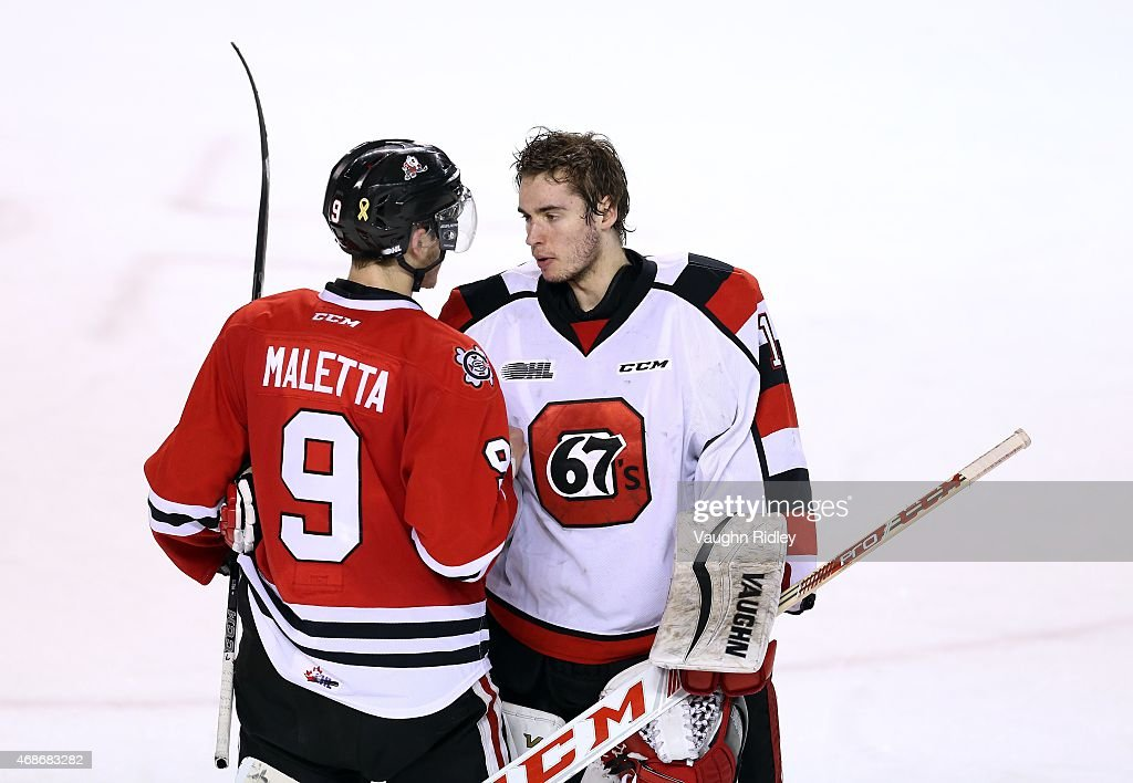 Jordan Maletta #9 of the Niagara IceDogs shakes hands with Liam Herbst #1 of the Ottawa 67's following Game 6 of the Eastern Conference Quarter-Finals at the Meridian Centre on April 5, 2015 in St Catharines, Ontario, Canada. The IceDogs win the series 4-2.