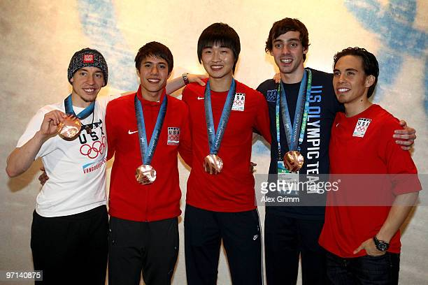 Jordan Malone JR Celski Simon Cho Travis Jayner and Apolo Anton Ohno pose together after their bronze medal performance in the men's short track...