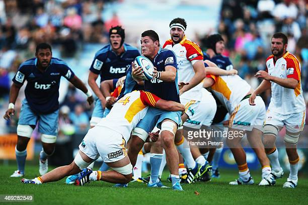 Jordan Manihera of the Blues charges forward during the Super Rugby trial match between the Blues and the Chiefs on February 14 2014 in Rotorua New...