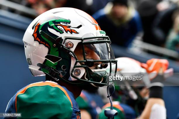 Jordan Martin of the Seattle Dragons looks on before the XFL game against the Dallas Renegades at CenturyLink Field on February 22, 2020 in Seattle,...