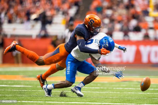 Jordan Martin of the Syracuse Orange breaks up a pass intended for Ty Lee of the Middle Tennessee Blue Raiders during the second quarter on September...