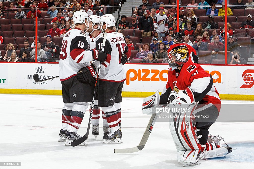 Jordan Martinook #48 of the Arizona Coyotes celebrates his second goal of third period as Craig Anderson #41 of the Ottawa Senators reacts during an NHL game at Canadian Tire Centre on October 18, 2016 in Ottawa, Ontario, Canada.