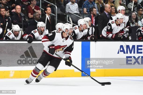 Jordan Martinook of the Arizona Coyotes handles the puck during a game against the Los Angeles Kings at STAPLES Center on September 28 2017 in Los...