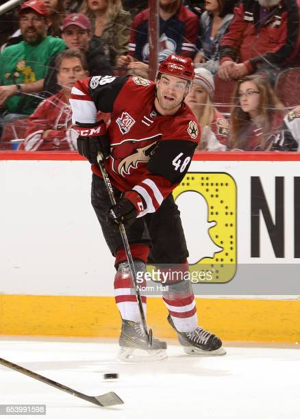 Jordan Martinook of the Arizona Coyotes passes the puck against the Colorado Avalanche at Gila River Arena on March 13 2017 in Glendale Arizona