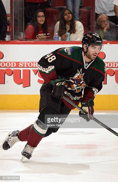 Jordan Martinook of the Arizona Coyotes prepares for a game against the St Louis Blues at Gila River Arena on February 20 2016 in Glendale Arizona