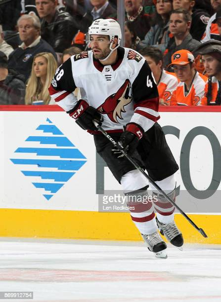 Jordan Martinook of the Arizona Coyotes skates against the Philadelphia Flyers on October 30 2017 at the Wells Fargo Center in Philadelphia...