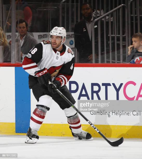 Jordan Martinook of the Arizona Coyotes skates against the New Jersey Devils at the Prudential Center on October 28 2017 in Newark New Jersey The...