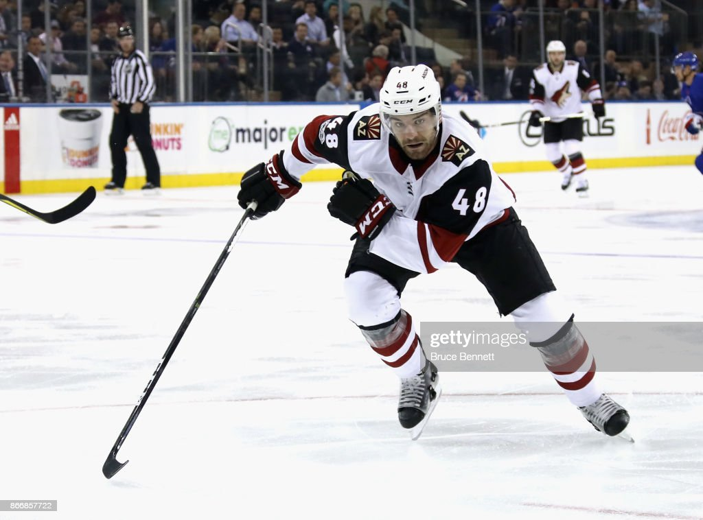 Jordan Martinook #48 of the Arizona Coyotes skates against the New York Rangers at Madison Square Garden on October 26, 2017 in New York City. The Rangers defeated the Coyotes 5-2.