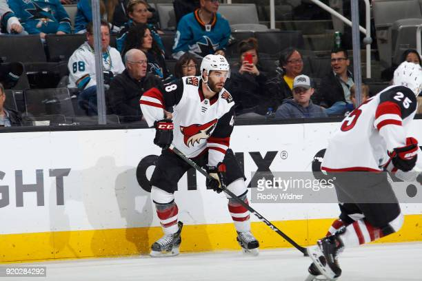 Jordan Martinook of the Arizona Coyotes skates against the San Jose Sharks at SAP Center on February 13 2018 in San Jose California