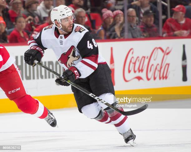 Jordan Martinook of the Arizona Coyotes skates up ice against the Detroit Red Wings during an NHL game at Little Caesars Arena on October 31 2017 in...