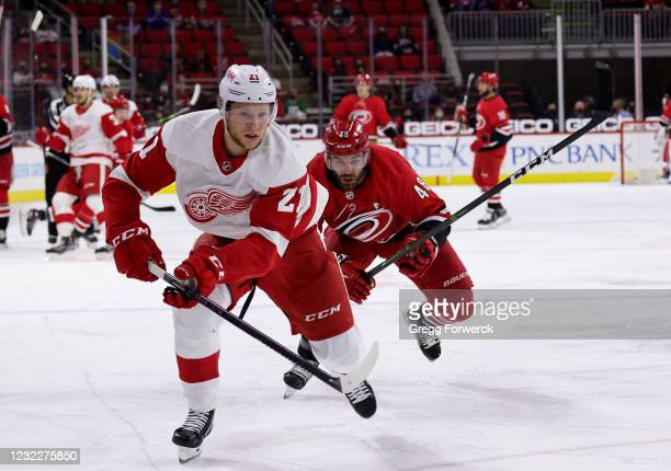 Jordan Martinook of the Carolina Hurricanes and Dennis Cholowski of the Detroit Red Wings skate for a loose puck during an NHL game on April 12, 2021...