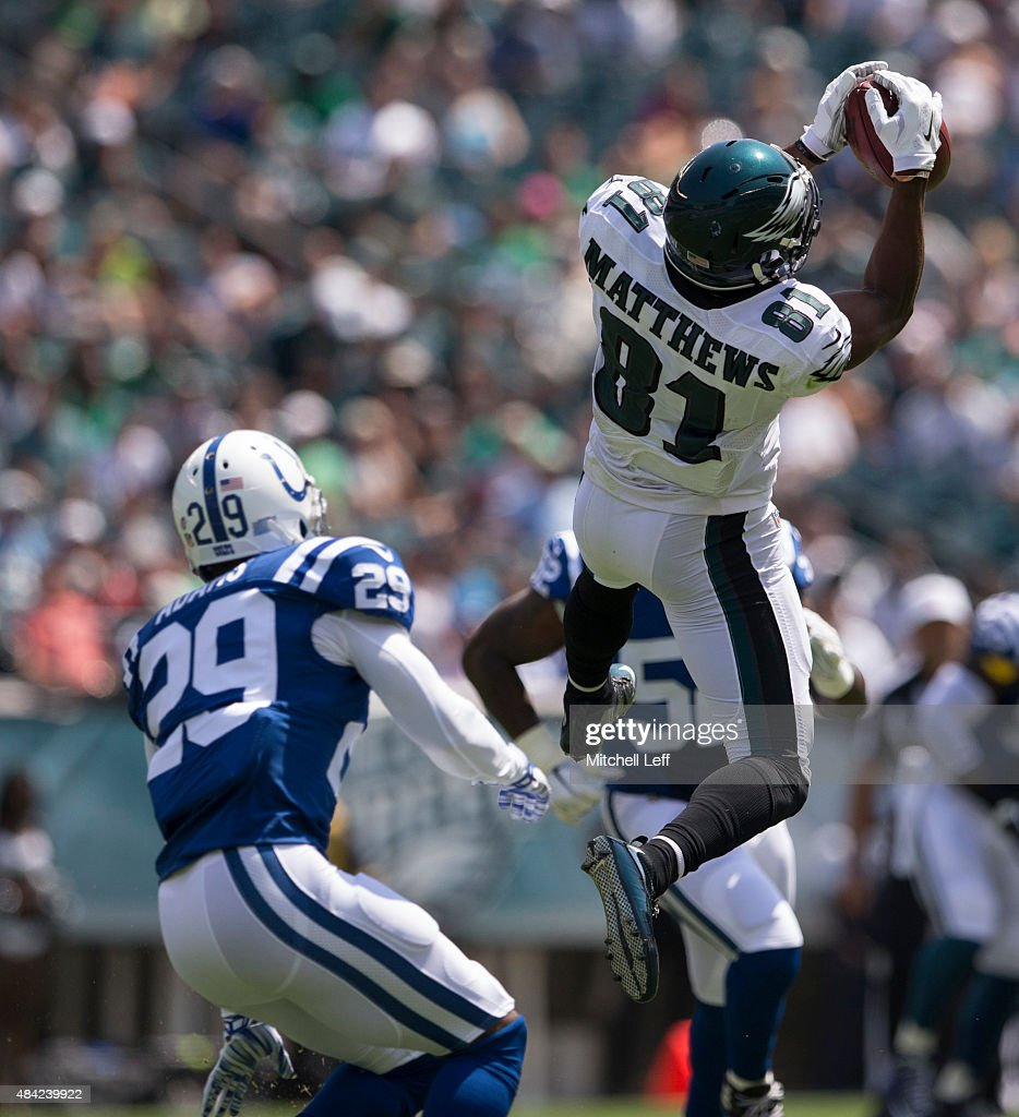 Jordan Matthews #81 of the Philadelphia Eagles catches a pass over Mike Adams #29 of the Indianapolis Colts in the first quarter of their preseason game on August 16, 2015 at Lincoln Financial Field in Philadelphia, Pennsylvania. The Eagles defeated the Colts 36-10.