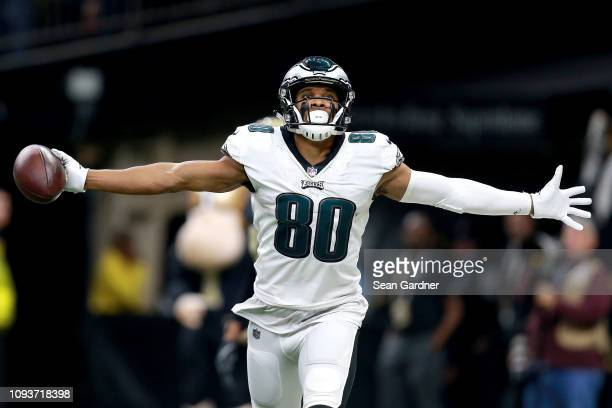 Jordan Matthews of the Philadelphia Eagles celebrates his first quarter touchdown reception against the New Orleans Saints in the NFC Divisional...