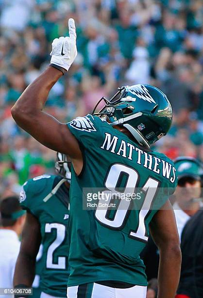 Jordan Matthews of the Philadelphia Eagles celebrates his touchdown in the second quarter against the Pittsburgh Steelers at Lincoln Financial Field...