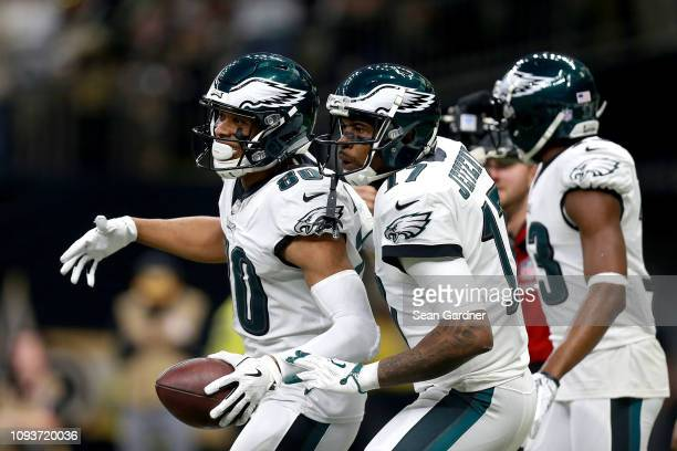 Jordan Matthews of the Philadelphia Eagles is congratulated by his teammate Alshon Jeffery after his first quarter touchdown reception against the...