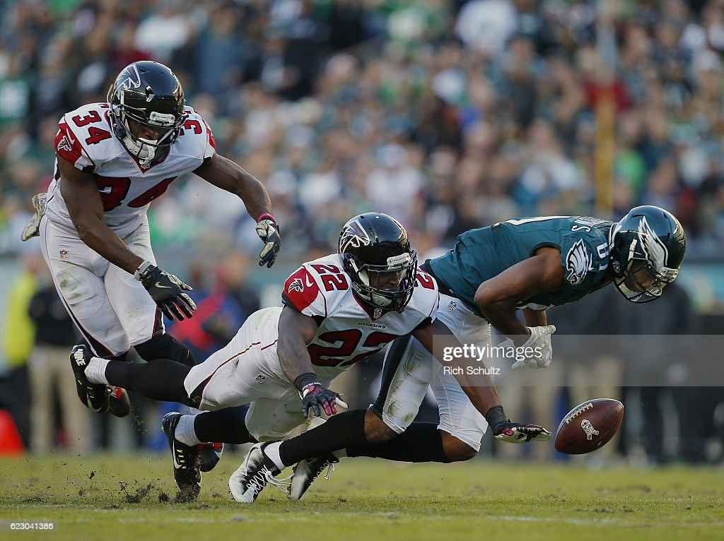 Jordan Matthews #81 of the Philadelphia Eagles looses control of the ball as he is hit by Keanu Neal #22 of the Atlanta Falcons in the third quarter during a game at Lincoln Financial Field on November 13, 2016 in Philadelphia, Pennsylvania. The Eagles defeated the Falcons 24-15.