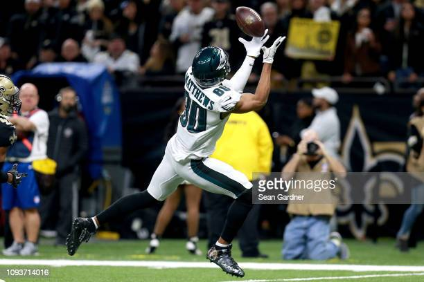 Jordan Matthews of the Philadelphia Eagles makes a first quarter touchdown reception against the New Orleans Saints in the NFC Divisional Playoff...