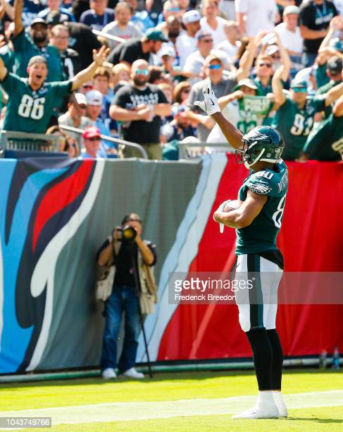 Jordan Matthews of the Philadelphia Eagles waves to fans after scoring a touchdown against the Tennessee Titans in the second quarter at Nissan...