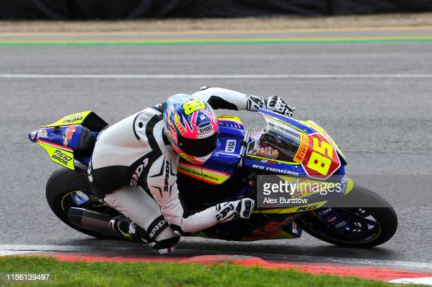 Jordan McCord of Great Britain in action during the Pirelli National Superstock 600 Qualifying race at Brands Hatch on June 15 2019 in Longfield...
