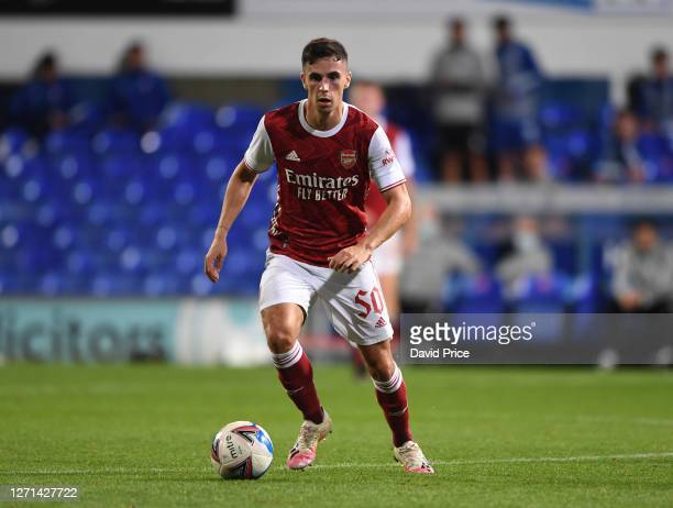 Jordan McEneff of Arsenal during the Leasingcom Cup match between Ipswich Town and Arsenal U21 at Portman Road on September 08 2020 in Ipswich England