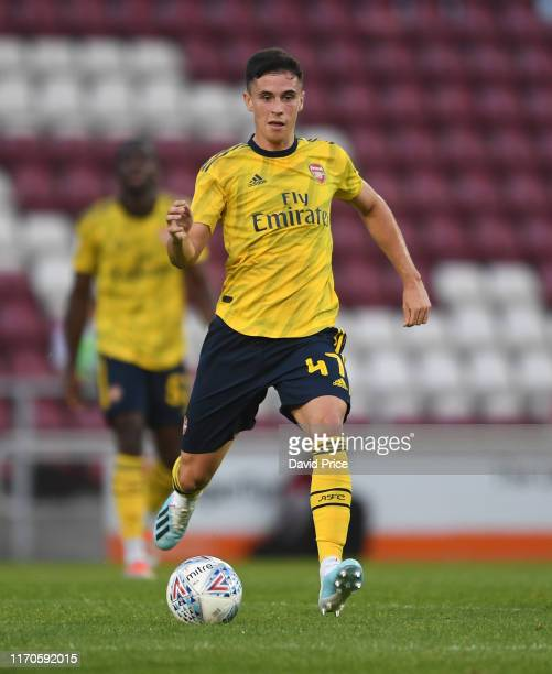 Jordan McEneff of Arsenal during the Leasingcom match between Northampton Town and Arsenal U21 at PTS Academy Stadium on August 27 2019 in...