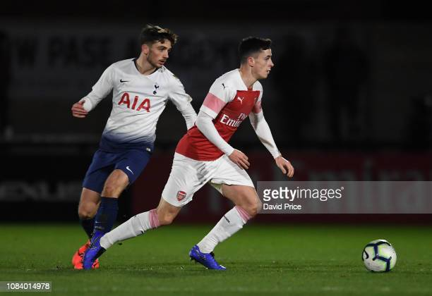 Jordan McEneff of Arsenal turns away from Troy Parrott of Tottenham during the match between Arsenal U18 and Tottenham Hotspur U18 in the FA Youth...