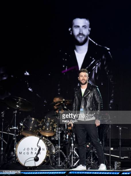 Jordan McGraw supports Jonas Brothers on the opening night of the European leg of Happiness Begins Tour at Arena Birmingham on January 29 2020 in...