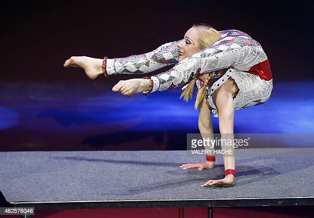 Jordan McKnight performs during the 4th New generation MonteCarlo International Circus Festival in Monaco on January 31 2015 The New Generation...