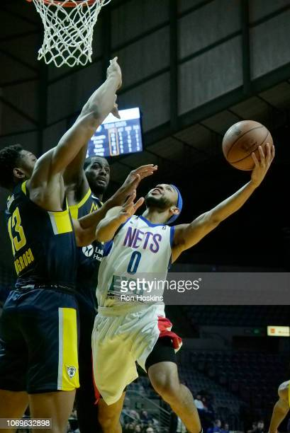 Jordan McLaughlin of the Long Island Nets shoots the ball against the Fort Wayne Mad Ants on December 7 2018 at Allen County War Memorial Coliseum in...