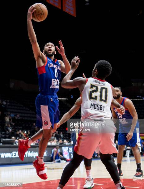 Jordan McLaughlin of the Long Island Nets shoots the ball against the Erie Bay Hawks on March 13 2019 at NYCB Live Home of the Nassau Veterans...