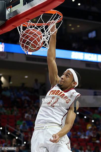 Jordan McLaughlin of the USC Trojans dunks the ball in the first half against the Providence Friars during the first round of the 2016 NCAA Men's...
