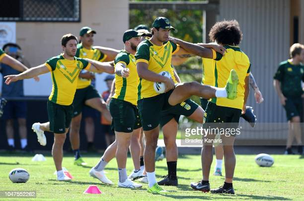 Jordan McLean and team mates warmup during an Australian Kangaroos training session at Carina Juniors on October 8 2018 in Brisbane Australia