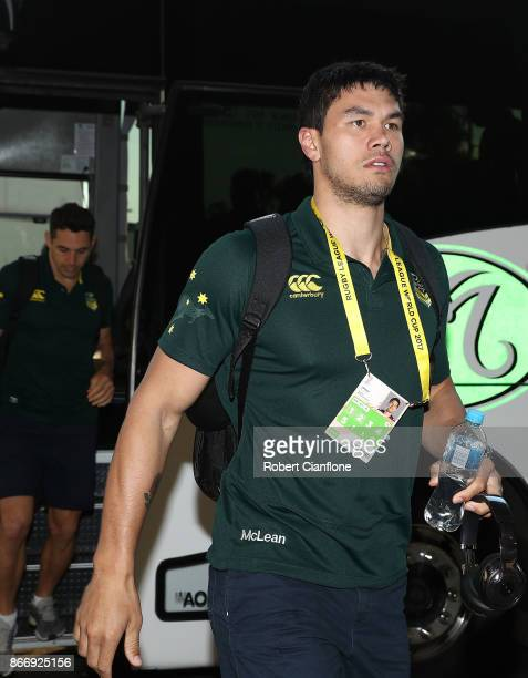 Jordan McLean of Australia arrives for the 2017 Rugby League World Cup match between the Australian Kangaroos and England at AAMI Park on October 27...