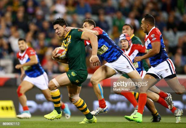 Jordan McLean of Australia makes a line break during the 2017 Rugby League World Cup match between Australian Kangaroos and France at Canberra...