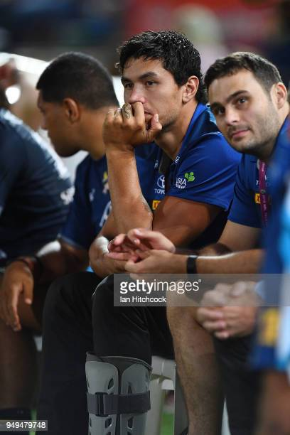 Jordan McLean of the Cowboys looks on from the bench during the round seven NRL match between the North Queensland Cowboys and the Gold Coast Titans...
