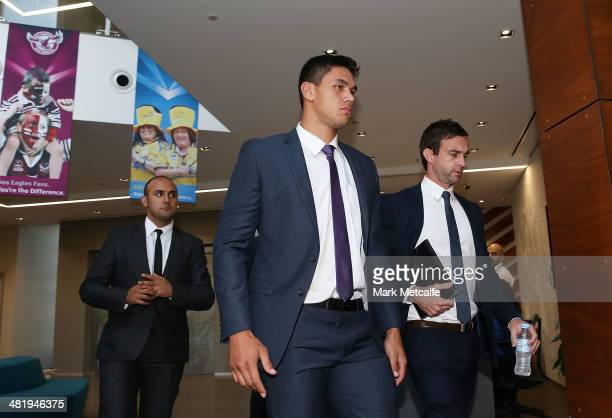 Jordan McLean of the Melbourne Storm arrives at the NRL Judiciary Hearing at Rugby League Central on April 2 2014 in Sydney Australia