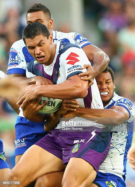 Jordan McLean of the Storm is tackle during the NRL Trial Match between the Melbourne Storm and Canterbury Bulldogs at AAMI Park on February 21 2015...