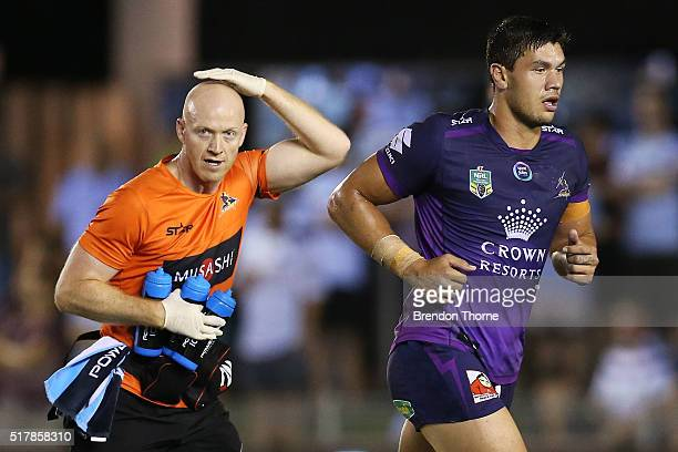 Jordan McLean of the Storm leaves the field for a concussion test during the round four NRL match between the Cronulla Sharks and the Melbourne Storm...
